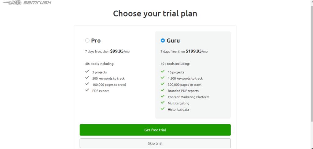 SEMrush free trial plan page