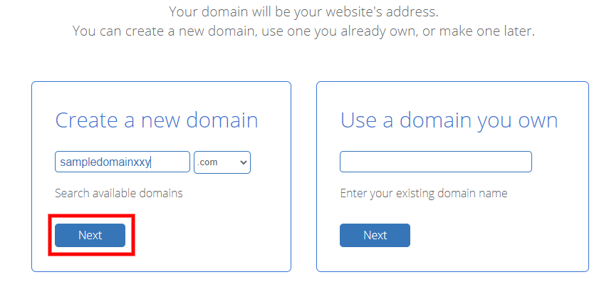 Bluehost-domain-select