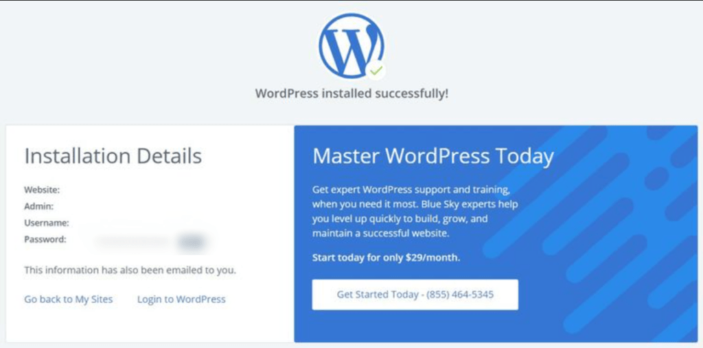 WordPress-installed-bluehost