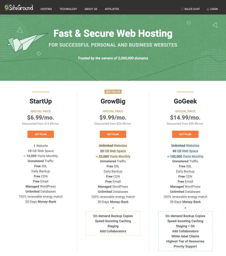 siteground hosting plan