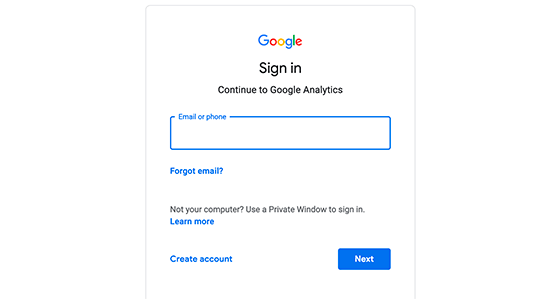 Google Analytics Signin - 1