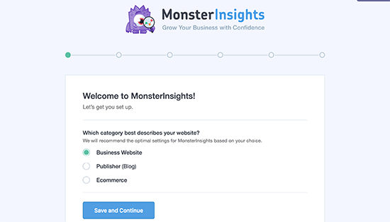 MonsterInsights setup - 1