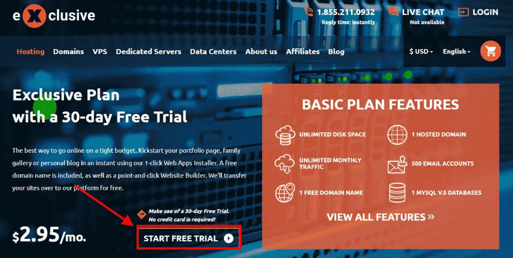 exclusive hosting free trial