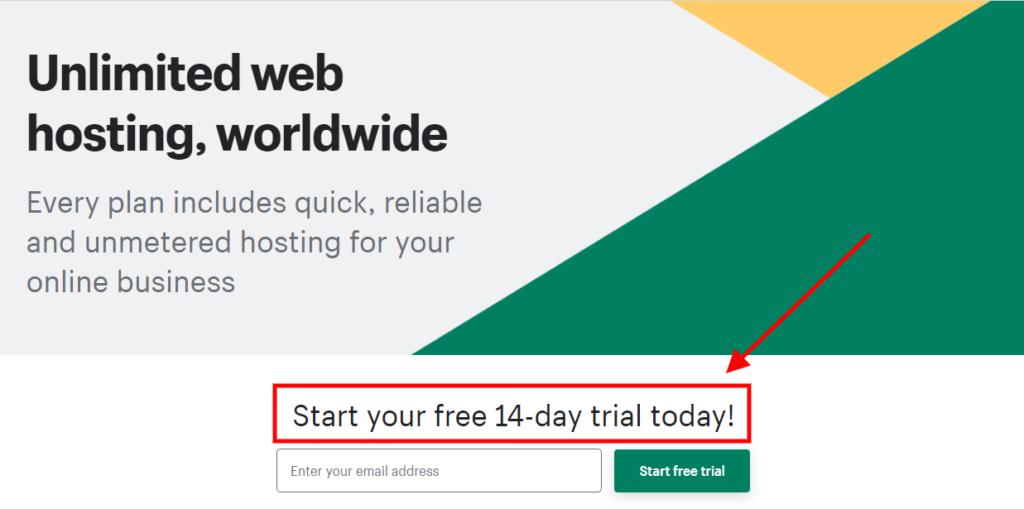 shopify web hosting free trial
