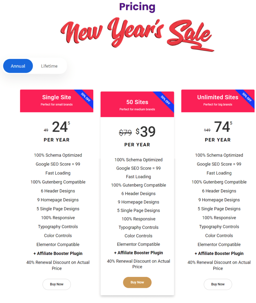 Affiliate Booster theme pricing 1