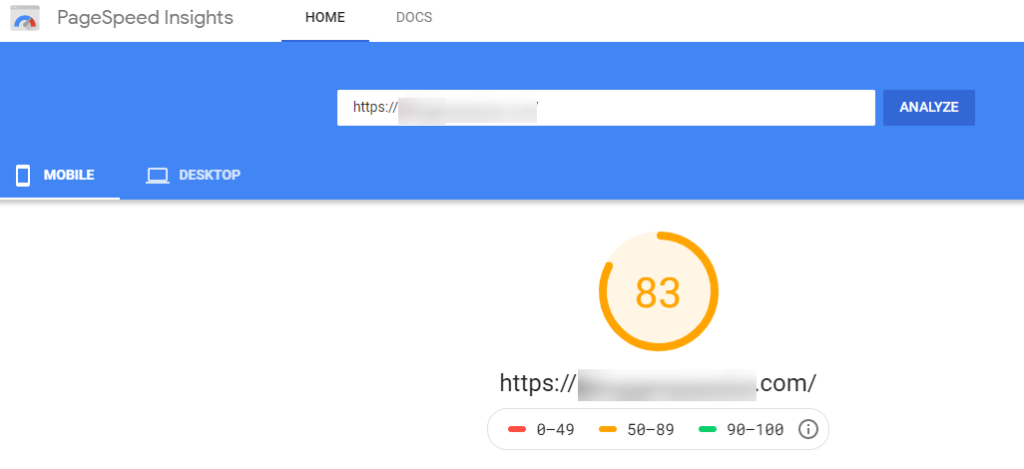 google pagespeed insights mobile