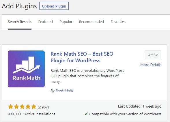 Rank Math Add Plugin