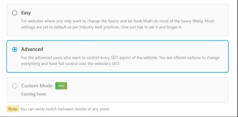 Rank Math modes
