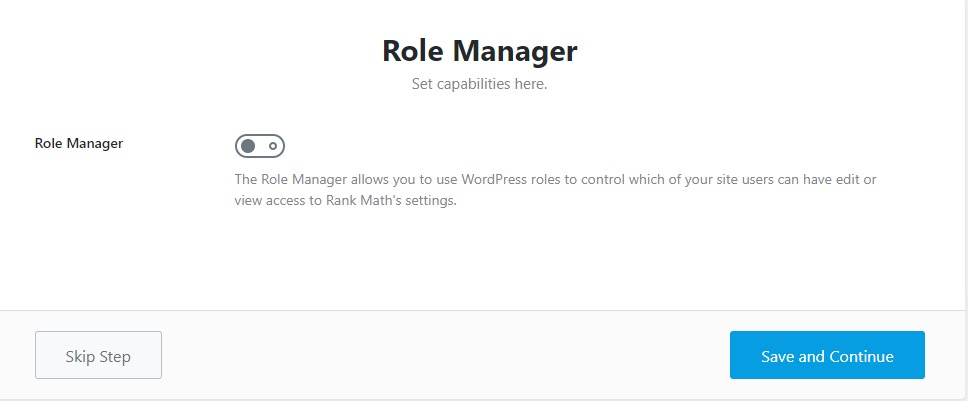 Role manager setting